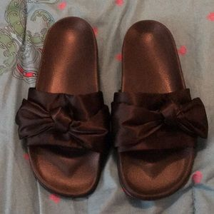 Black Satin Bow Slides SZ M
